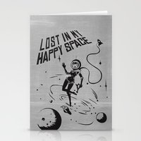 Lost In My Happy Space, grey Stationery Cards