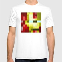Battle-damaged Iron Man Mens Fitted Tee White SMALL
