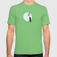 Little Girl With Balloons Mens Fitted Tee Grass SMALL