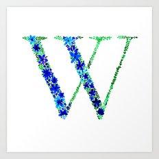Floral Monogram Letter W Art Print