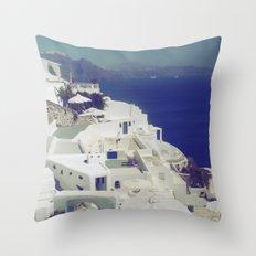 Santorini White & Blue Throw Pillow