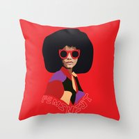 Feminist Afro Throw Pillow