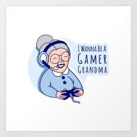 Gamer Grandma Art Print