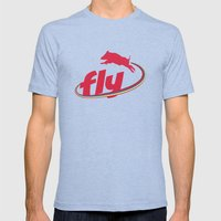 Flying Pig Mens Fitted Tee Tri-Blue SMALL