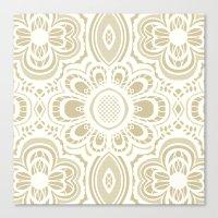 Lace Floral Ivory Sand (… Canvas Print