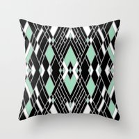 Art Deco Zoom Mint Throw Pillow