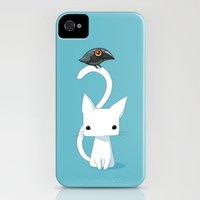 iPhone Cases featuring Cat and Raven by Freeminds