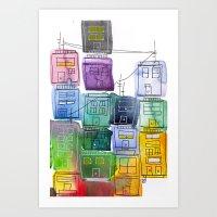 Rainbow Village 2 Art Print