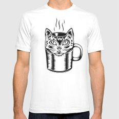 Coffee Cat White Mens Fitted Tee SMALL