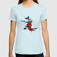 Red Hood & The Badass Wolf Redux Womens Fitted Tee Light Blue SMALL