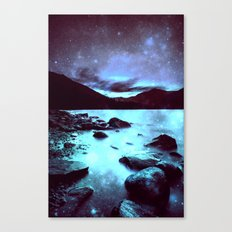 Magical Mountain Lake Violet Aqua Canvas Print