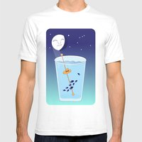 Waning Waterglass Moon -… Mens Fitted Tee White SMALL
