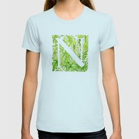 Letter N Womens Fitted Tee Light Blue SMALL