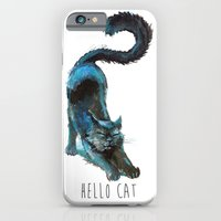 Black Blue Cat Stretching Drawing  iPhone 6 Slim Case