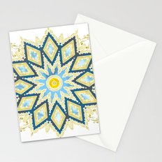 Marble and Gold Pattern in Blue Stationery Cards