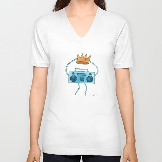 boombox holding a paper crown V-neck T-shirt