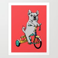 Art Print featuring Frenchie Ride by Huebucket