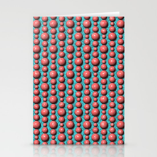 Bead Pattern, Coral & Turqoise Stationery Card