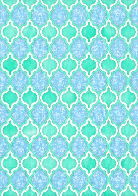 Moroccan Aqua Doodle pattern in mint green, blue & white Art Print