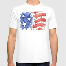 American Flag Watercolor 'Merica! Mens Fitted Tee White SMALL