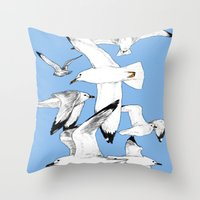 Flying around Throw Pillow