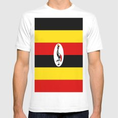 Flag of Ugandan Mens Fitted Tee White SMALL