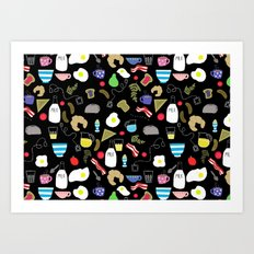 Breakfast pattern Art Print