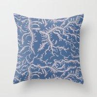 Ferning - Pink/Blue Throw Pillow