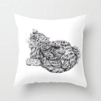 Pencil Cat Throw Pillow