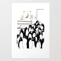 Penguins In The Bedroom Art Print