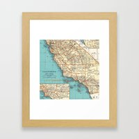 So Cal Surf Map Framed Art Print