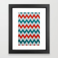 Red and Teal Chevron  Framed Art Print