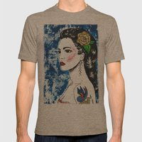 Lady With Swallow Tattoo Mens Fitted Tee Tri-Coffee SMALL