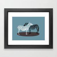 Zebra Embrace Framed Art Print