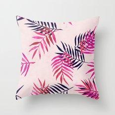 Pink Palm Pattern Throw Pillow
