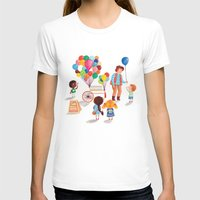 Balloon Stand Womens Fitted Tee White SMALL
