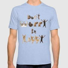 Cat Font - Don't Worry Be Happy Mens Fitted Tee Tri-Blue SMALL