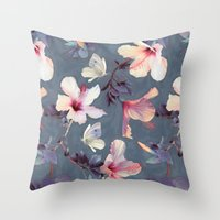Butterflies And Hibiscus… Throw Pillow