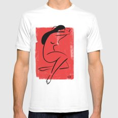 Red Girl 1 Mens Fitted Tee SMALL White