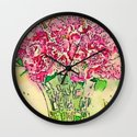 Coming Up Roses -- Pink Rose Flower Bouquet Waterlogue Paris Apt Chic Still Life Wall Clock