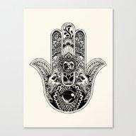 Hamsa Hand Pug Canvas Print