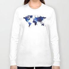 Space Milkyway World Map - Blue Long Sleeve T-shirt