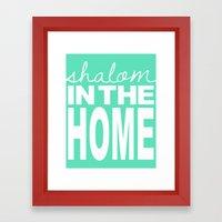 Shalom in the Home, sea foam Framed Art Print