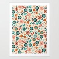 Folk Flowers Art Print