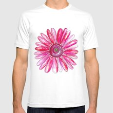 Pink Gerber Daisy White Mens Fitted Tee SMALL