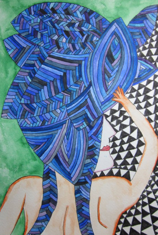 Blue Hair back Art Print