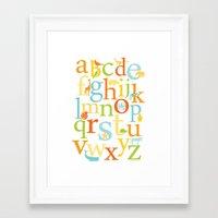 Alphabet Animals - Sandbox colorway Framed Art Print