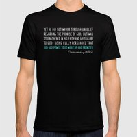 Romans 4:20-21 Mens Fitted Tee Black SMALL