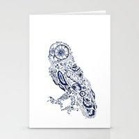Folk Floral Indigo Owl Stationery Cards