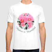 Lovely Pink Orchid Flowe… Mens Fitted Tee White SMALL